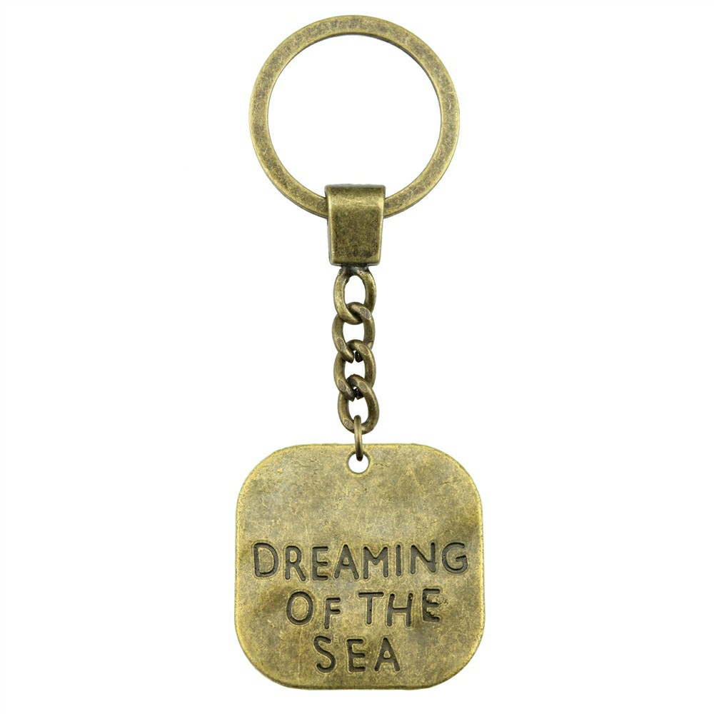 Antique Bronze 30x30mm Big Size One Sided Dreaming Of The Sea Keychain New Vintage Handmade Metal Key Ring Party Gift in Key Chains from Jewelry Accessories