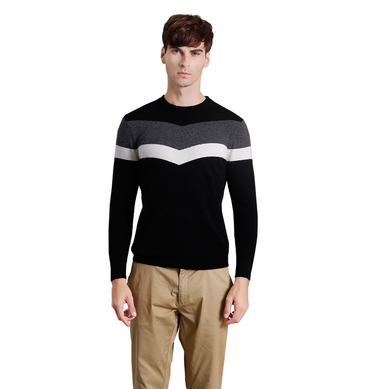 ZHILI Men's Autumn Winter Round Neck Knit Cashmere Sweater