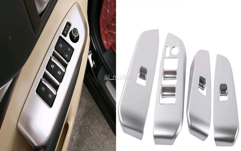 4X Silver Windows Lift Control Panel Decorative Trim For Toyota Highlander 2015