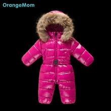 2017 Россия зима вниз пальто одежда для новорожденных мода сверкающих Водонепроницаемые комбинезоны теплый снег одежда для новорожденных девочек мальчиков