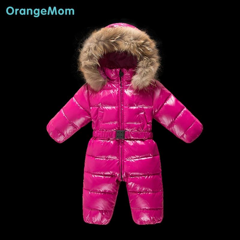 ФОТО 2017 winter Russia winter down coats for baby clothing fashion shinning Waterproof snowsuits warm snow wear for baby girls boys