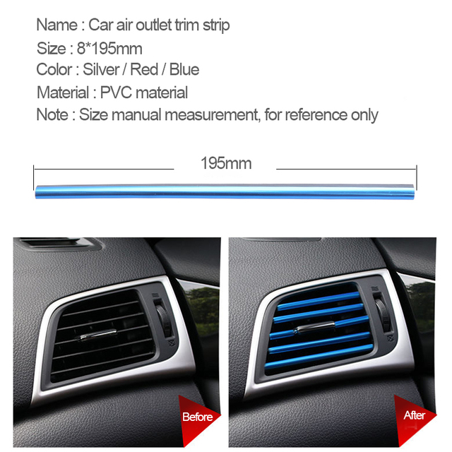 Car Interior Decoration Strip Auto Air Conditioner Decorative Mouldings Chrome Stickers Universal for Automobiles Accessories