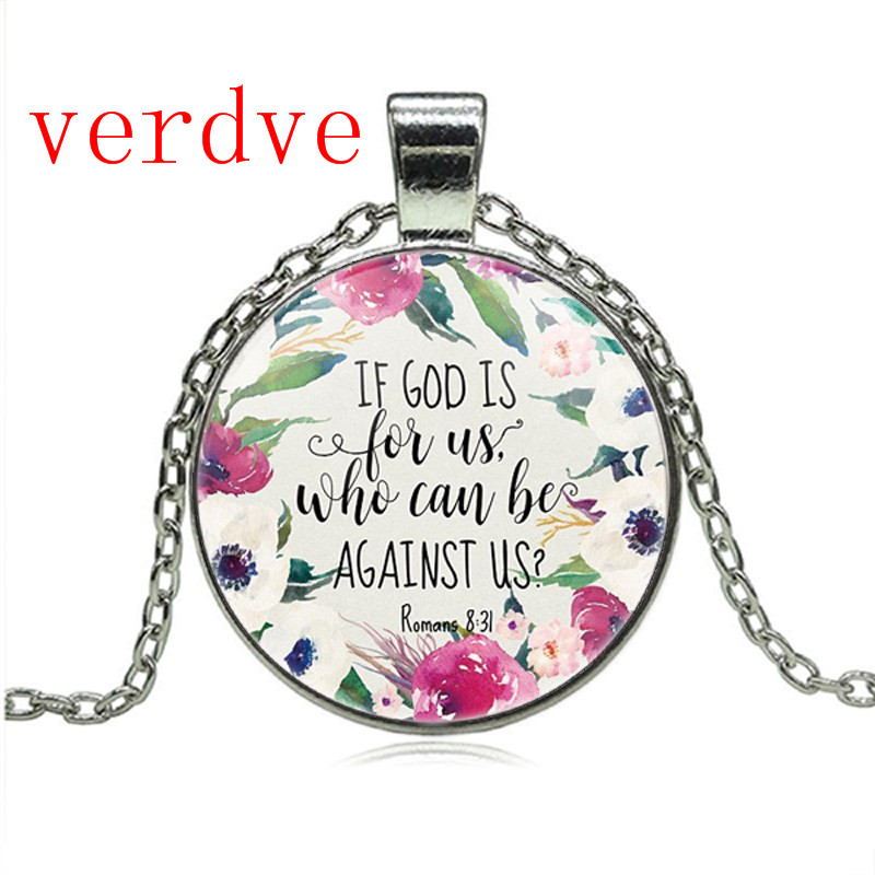 Romans 8 31 Bible Quote Necklace If God is for Us who can be against us Verse Christian Nursery Jewelry Women Men Gifts