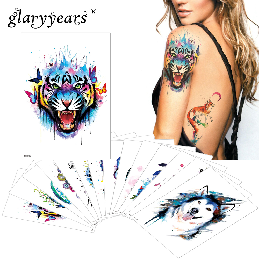 68017e06bbf17 glaryyears 1 pc Temporary Tattoo Sticker Colorful Fake Tatoo Animal Flash  Tatto Waterproof Small Body Art Men Women TH Link 03