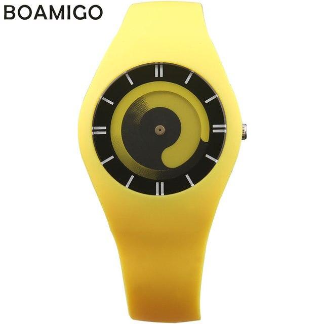 BOAMIGO творческий женщины спорт кварцевые часы моды платье дамы резинкой часы женские красный синий наручные часы relojes