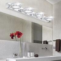 Modern K9 Crystal LED Bathroom Make up Mirror Light Cool White Wall Sconces Lamp 90 260v Stainless Steel Cabinet Vanity Lighting