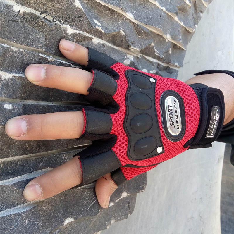 LongKeeper New Cycling Half Finger Gloves Men 2D Leather Mesh Outdoor Riding Gloves Women Fitness Training Sport Gloves