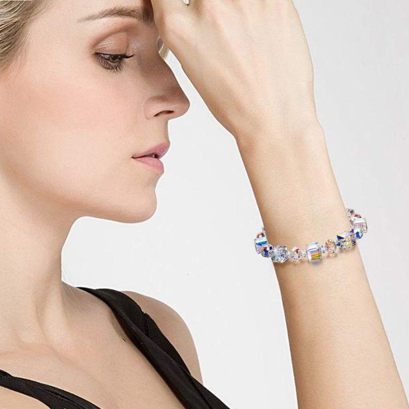 Luxury Exquisite Aurora Square Geometric Polygon Bead Crystals Bracelet Women Females Tennis Bracelet Charm Jewelry Accessory 2