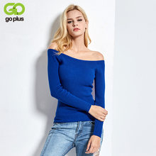 Free Shipping Autumn and Winter basic Women Sweater slit neckline Strapless Sweater thickening sweater top thread slim C0320(China)