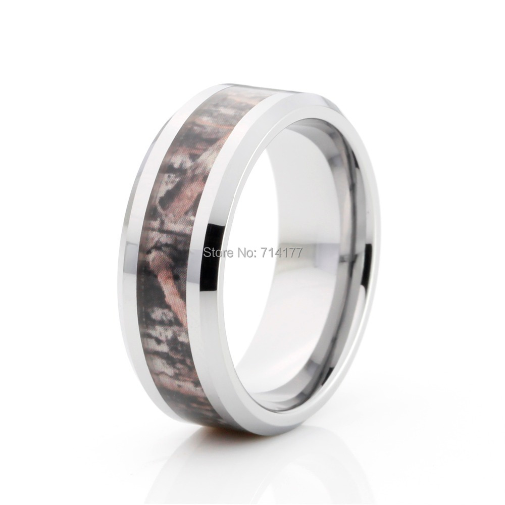 8mm camouflage hunting mens tungsten ring camo beveled polished wedding band treeschina mainland - Cheap Camo Wedding Rings