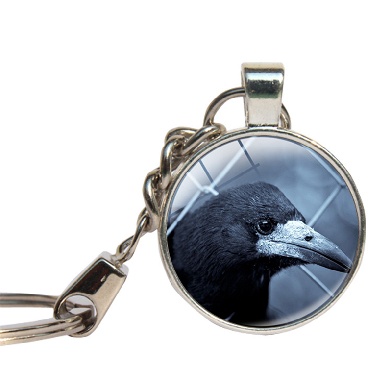Black Crow Keychain Glass Cabochon Key Ring Glass Dome Key Chains Halloween Jewelry Birds Lovers Gift Gothic Raven Corw Jewelry