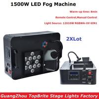 2Pcs/Lot 1500W LED Fog Machine 12X10W RGBWA UV Led Lamps Smoke Machine Professional Fogger Hazer Device Stage DJ Party Equipment