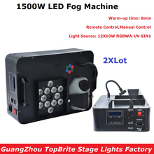 цена на 2Pcs/Lot 1500W LED Fog Machine 12X3W RGB Led Lamps Smoke Machine Professional Fogger Hazer Device Stage DJ Disco Party Equipment