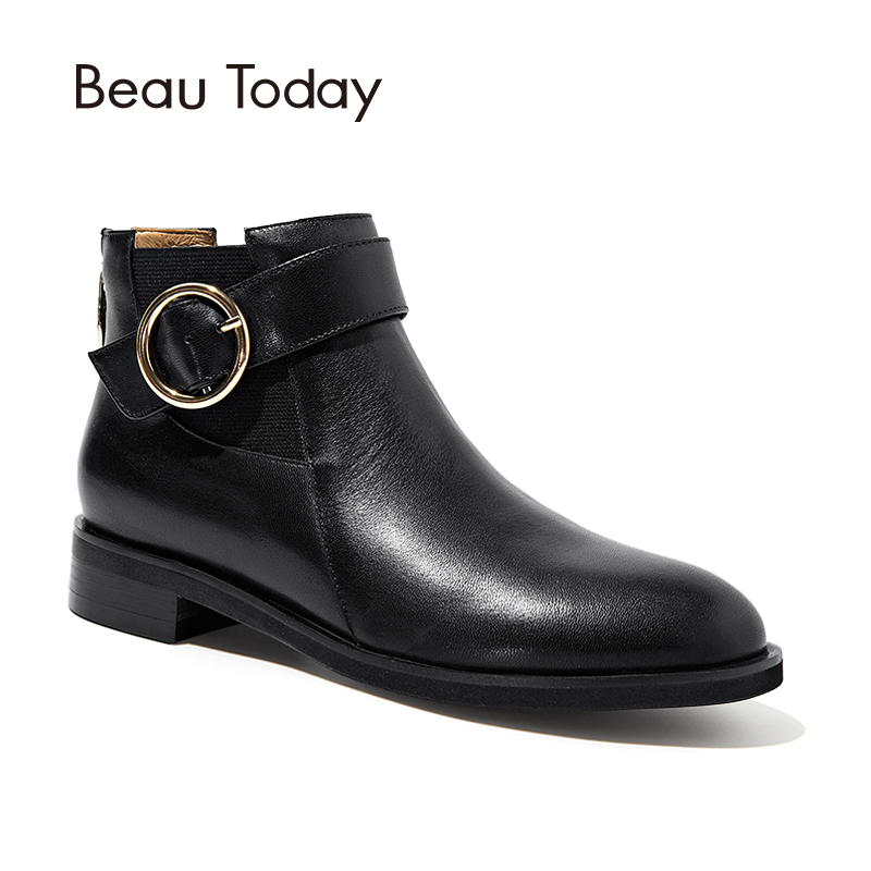 BeauToday Ankle Boots Women Buckle Decorated Top Quality Genuine Calf Leather Brand Boot Zip Lady Shoes Handmade 03067 double buckle cross straps mid calf boots