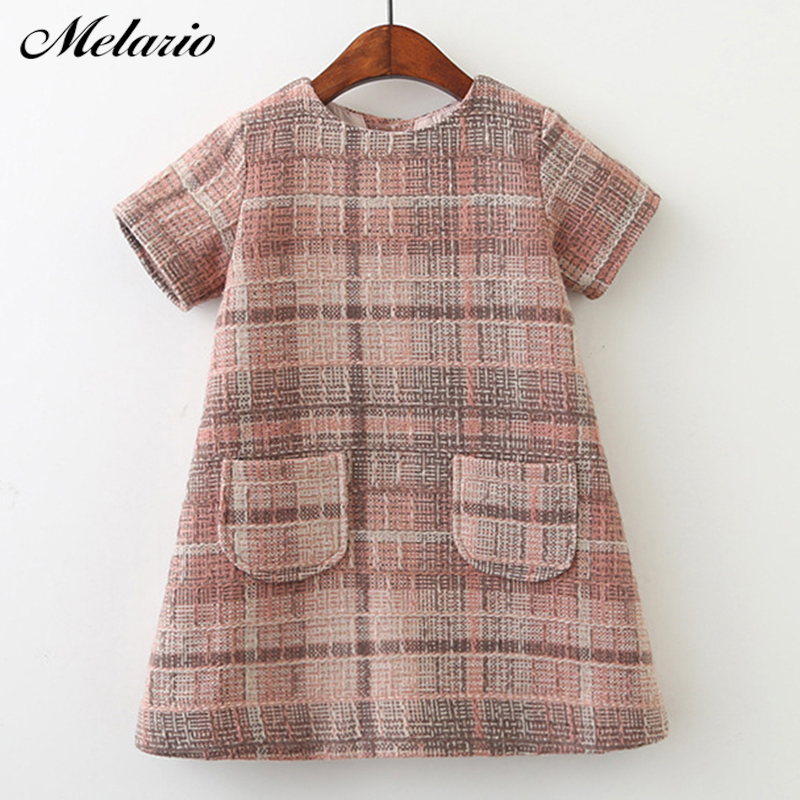 Melario Girls Dress 2018 New Brand Girls Clothes European And America Style Kids Clothes Plaid Pocket Design Baby Girls Dress ornate printed pocket design dress