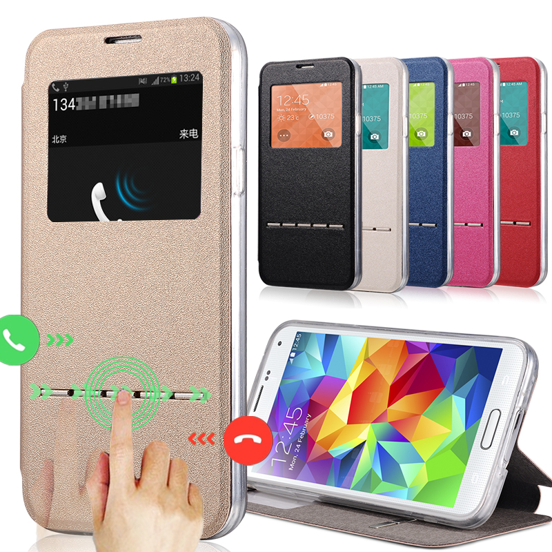Smart View Sleep Function Open Window Leather <font><b>Flip</b></font> Back Cover Mask Protect <font><b>Case</b></font> For <font><b>Samsung</b></font> <font><b>Galaxy</b></font> <font><b>S5</b></font> <font><b>Mini</b></font> S5mini G800 With Chip image
