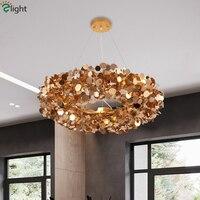 Villa Plate Steel Flower G9 Led Pendant Light Gold/Silver Pendant Lamp Led Hanging Light Cord Suspend Lamp For Living Room Lamp