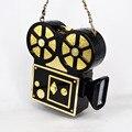 Личность старинные видикона смешно проектор пластиковые черный цепь сумка женская сумка партии кошелек сцепления сумка crossbody X69