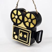 Persönlichkeit vintage vidicon lustige projektor kunststoff schwarz kette umhängetasche damen handtasche partei clutch tasche crossbody X69