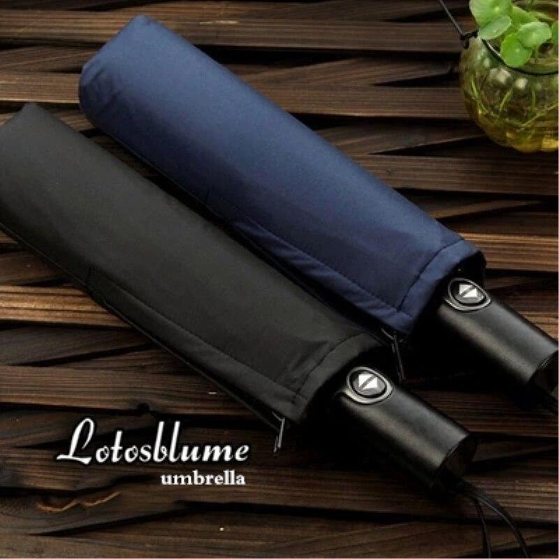 Lotosblume marque 10 Côtes Automatique homme Noir Revêtement En Plastique Parapluie Poignée En Cuir Coupe-Vent Voyage Parapluies
