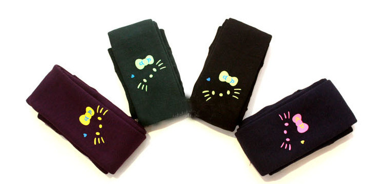 2018 Winter Girls Leggings Print KT Cat Thick Fleece Children Pants Elastic High Waist Kids Leggings Girls Snow Wear Boots Pants