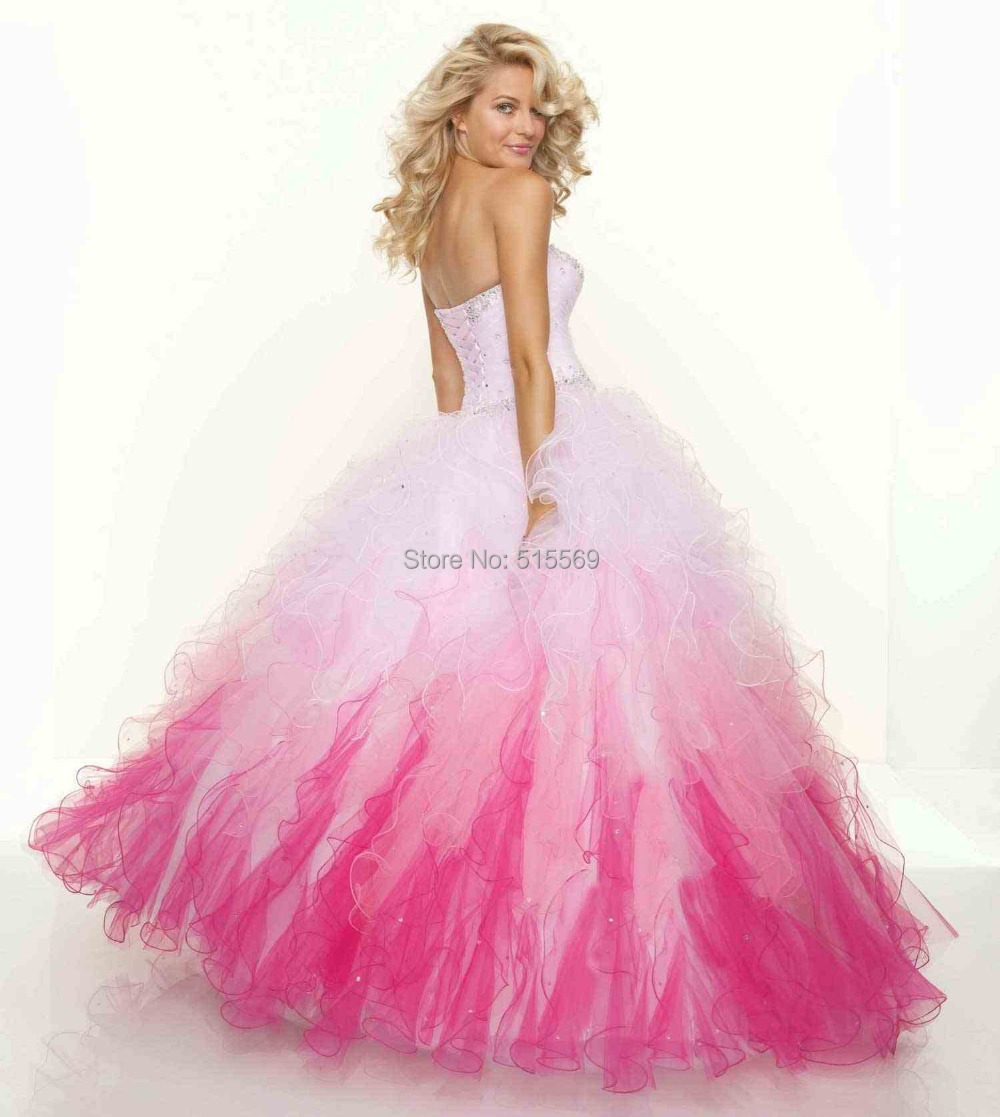 Ball gown prom dresses 2014 - Hot Sale Beautiful Luxury Ball Gown Ruffled Organza Black And White Puffy Prom Dresses 2014 In Prom Dresses From Weddings Events On Aliexpress Com