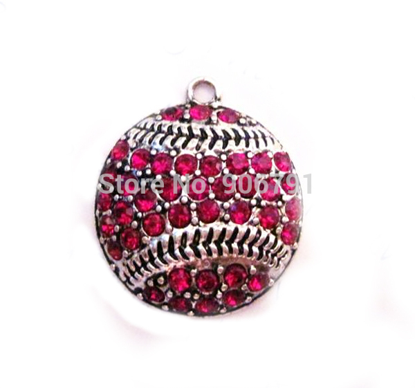 Adroit 100pcs A Lot Antique Silver Color Zinc Studded With Sparkling Baseball Or Softball Red Crystal Pendant In Many Styles