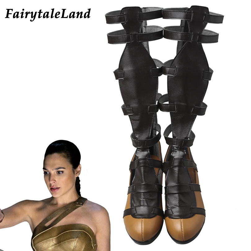 Wonder Woman Boots Superhero movie Cosplay accessories Halloween cosplay shoes Roman Sandals custom made