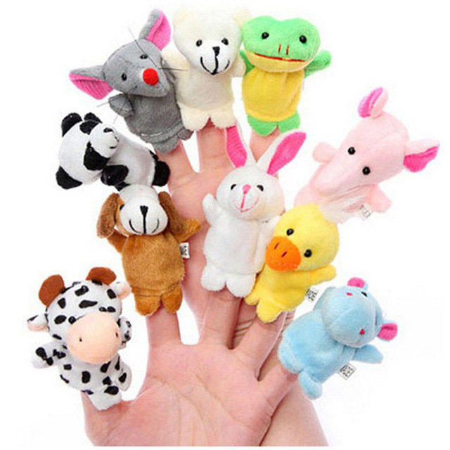 10PCS Baby shower decoration animal plush hand puppet first birthday party supply girl boy favor gift