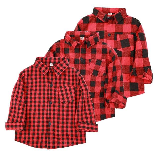 7cb1d5d838d Красные клетчатые рубашки для маленьких мальчиков