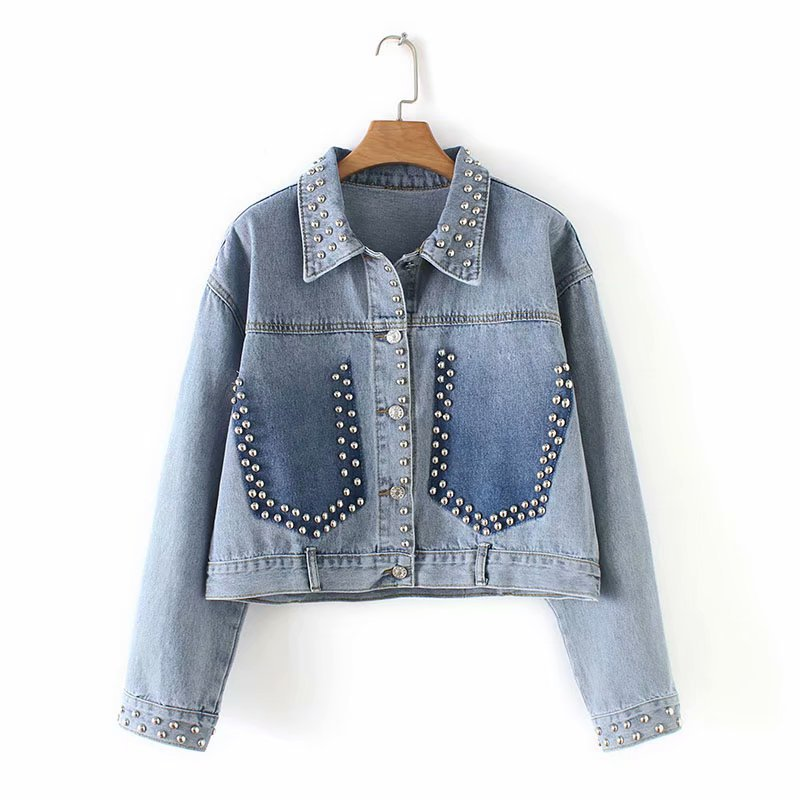 2019 Rocky Street Women Denim   Jacket   With Rivets Print Oversize Long Sleeve Jeans   Jackets     Basic   Coats Outfit