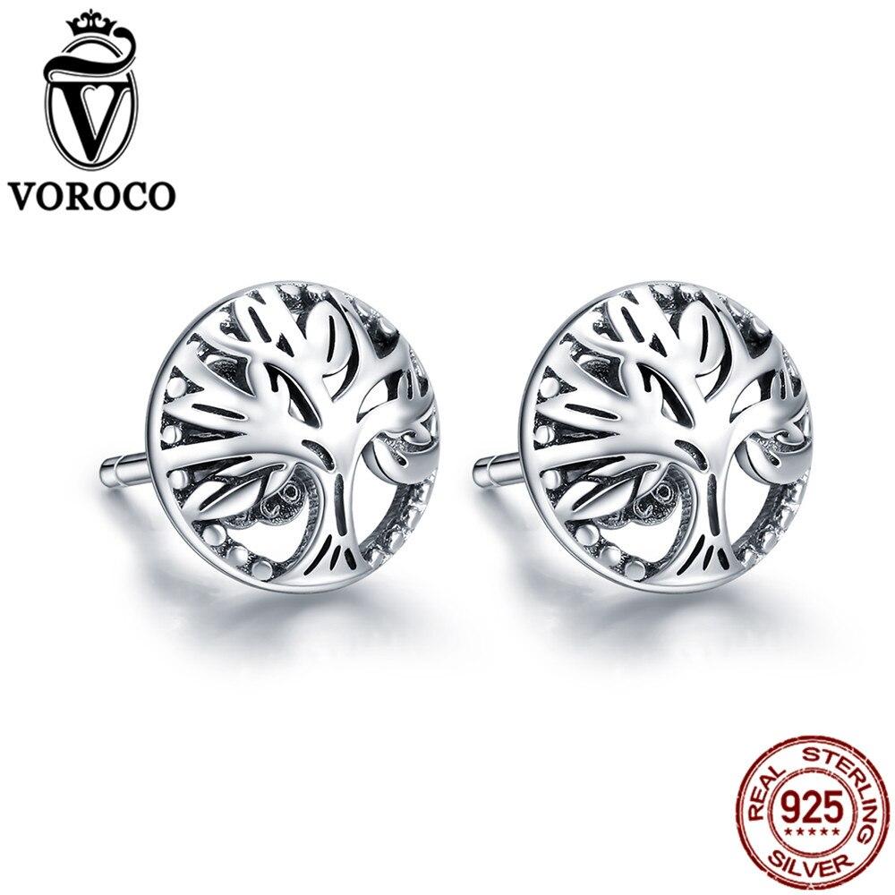 VOROCO Stud-Earrings Fine-Jewelr 925-Sterling-Silver Black Zircon Cute Girl Gift VSE110