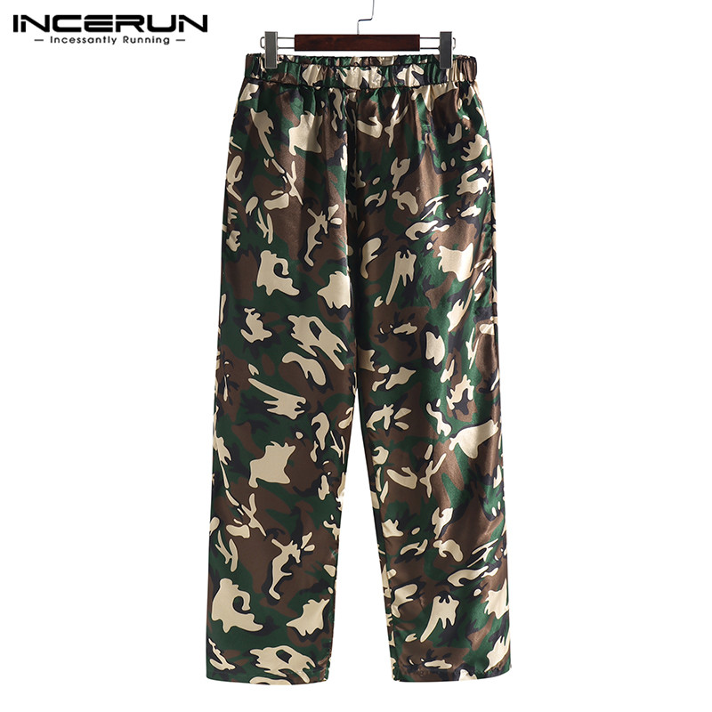 INCERUN Men Sleep Pants Pajamas Camouflage Print Silk Satin Soft Loose Sleep Bottoms Breathable Men Lounge Pants Plus Size 2019