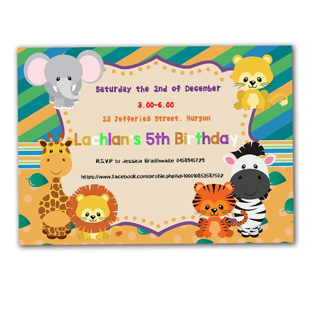 20PCS Safari Animals Theme Invitations Card Birthday Party Supplies ...