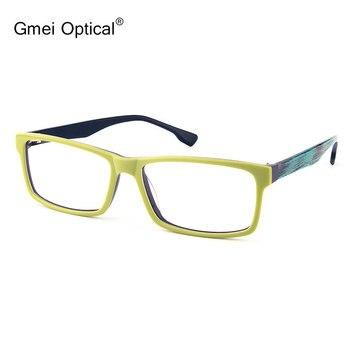 849d4a07c4 Gmei óptico T9051 acetato lleno-borde rectángulo frente verde marco gafas  para las mujeres y los hombres gafas
