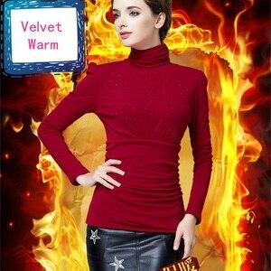 Image 3 - נשים עבה קטיפה באיכות גבוהה נשים אלגנטי אופנה חולצה חולצות סתיו חורף בתוספת גודל חם השפל חולצה Blusas חולצות