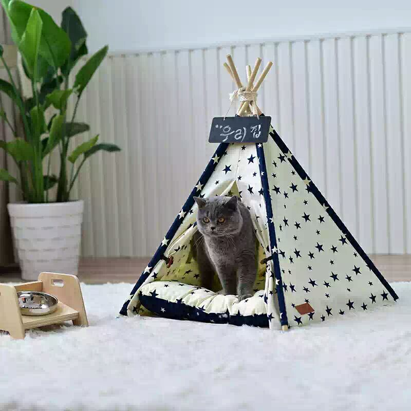 Starry Dog Teepee Bed Tent Dog Tipi Cat Tipi yellow chevron pet teepee dog bed house teepee for dogs rabbit teepee