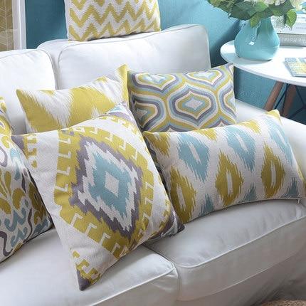 Linu spilvenu pārvalks Dzeltens Zils Ikat Ģeometriskā spilvena - Mājas tekstils - Foto 2