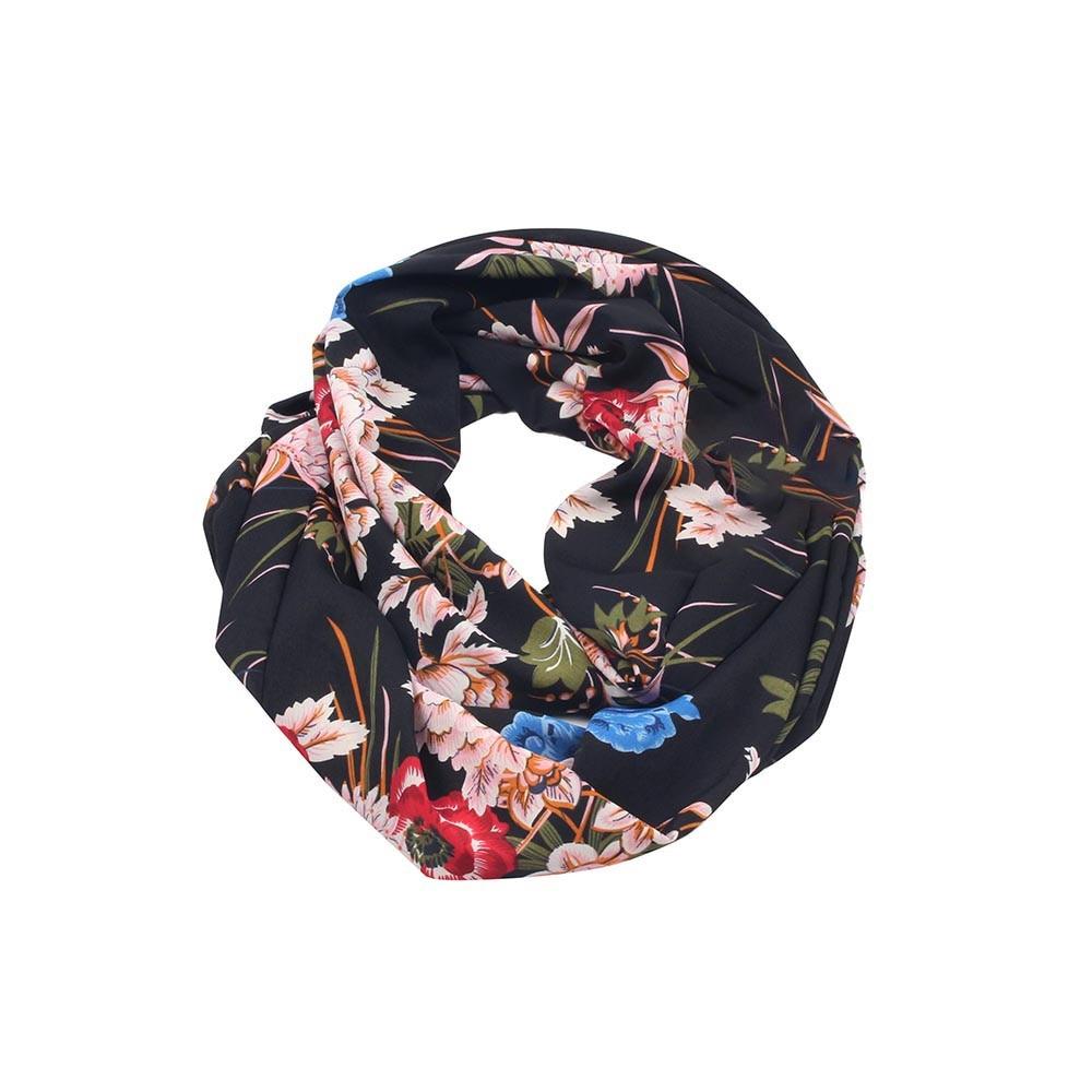 Fashion Women Flower Pattern Zipper Pocket   Scarf     Wrap   Neck Scarves10.31