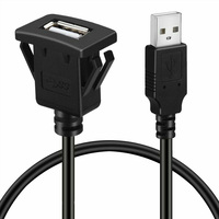Charge Black Extension Lead Adapter Cable Stable Car USB Interface Data Transfer Line Dashboard Flush Mount Wire For VIGO