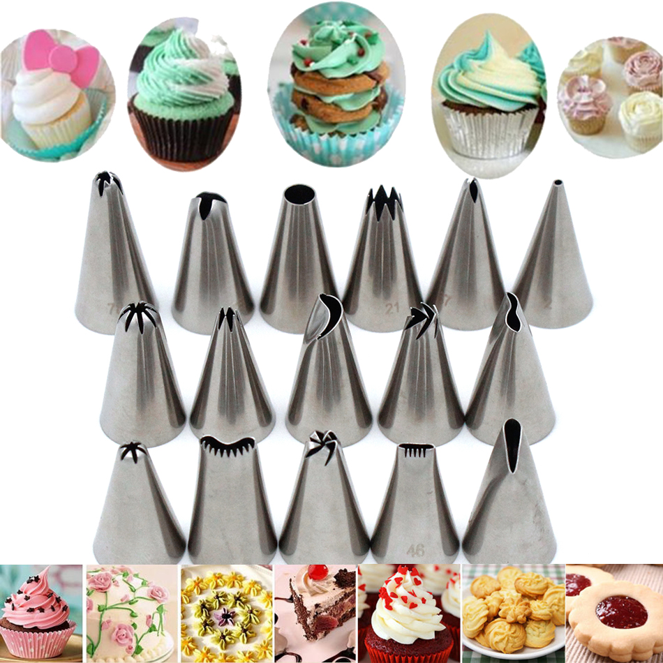 46pcs/lot Stainless Steel Cake Nozzles Russian Nozzle ...