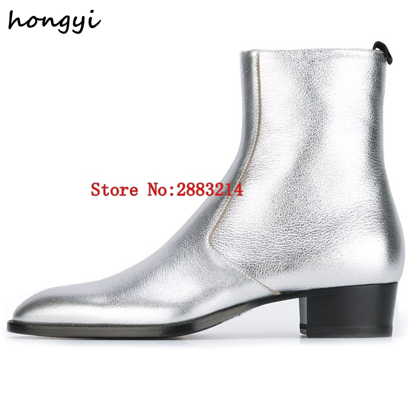 Ayakk.'ten Chelsea Çizmeler'de Yüksek Kalite Erkekler Chelsea Boots Deri Süet yarım çizmeler Metal Zincir Rahat erkek ayakkabıları Açık Avrupa Tarzı Yuvarlak Ayak Ayakkabı'da  Grup 1