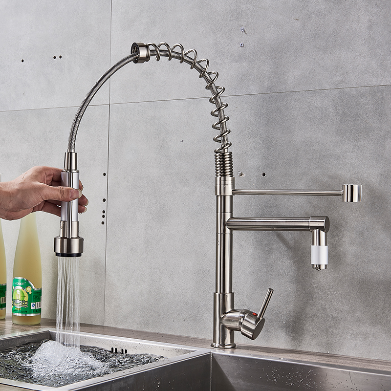 Quyanre-Brushed-Nickel-Black-Kitchen-Faucet-Pull-out-Spray-Dual-Function-Water-Flow-Swivel-Spout-Single
