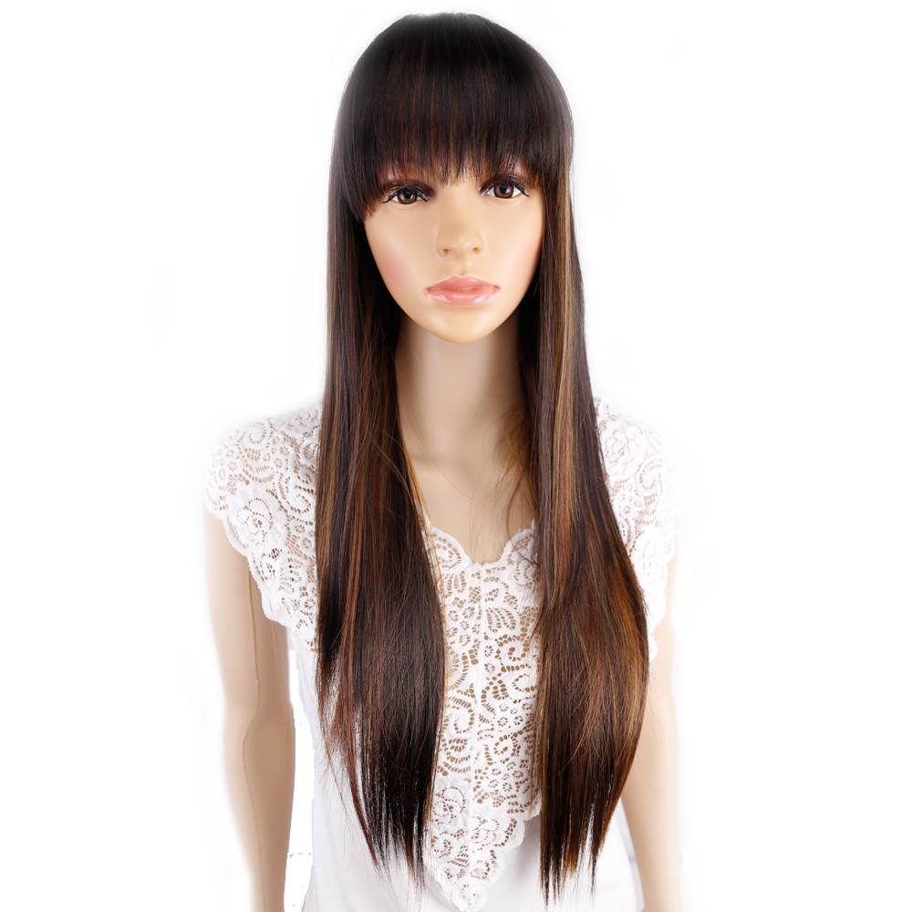 Amir Long Straight Hair wig with bangs wig for Women Omber blond Purple Black Red Brown Synthetic Hair Wigs Cosplay