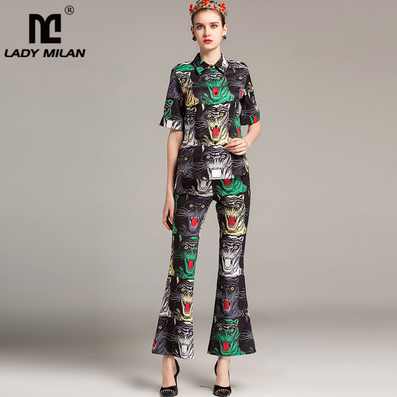 New Arrival 2018 Womens Turn Down Collar Short Sleeves Printed Shirts with Printed Ankle Length Pants Fashion Two Piece Sets