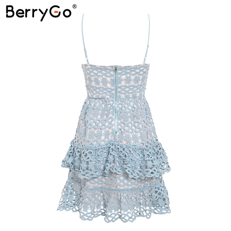 BerryGo Women white lace dress party spaghetti strap Embroidery ruffle sexy dress V-neck hollow out summer dresses ladies 19 10