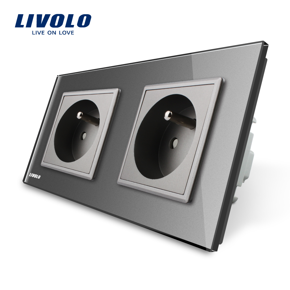 LIVOLO 16A French Standard, Wall Electric / Power Double Socket / Plug, Gray Crystal Glass Panel,VL-C7C2FR-15 15a 16a south africa socket and double ubs socket wallpad 146 86mm white glass 2 usb ports and 16a sa switched socket with led