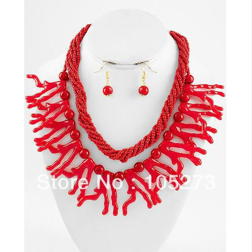 New Free Shipping Chunky Beach Sea Lift Red Coral Reef 4-35mm 18-21'' Necklace 925 Silver Dangle Earrings Top Quality Wholesale