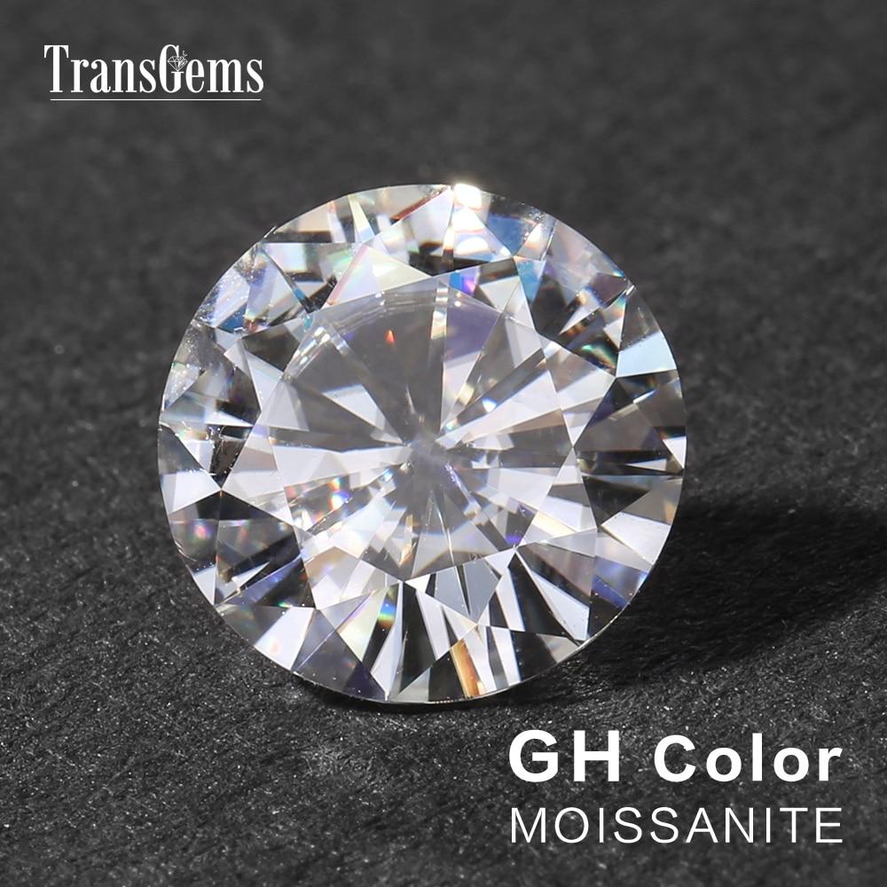 TransGems 1 Peça 10 MM de Diâmetro de Cor GH 4 Equivalente Peso do Diamante Carat Moissanite Pedra Solta Tamanho Grande Moissanite
