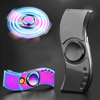 Propeller Style Fidget Hand Finger Decompression Gyro Cigarette Lighter With LED Flash Light USB Charging